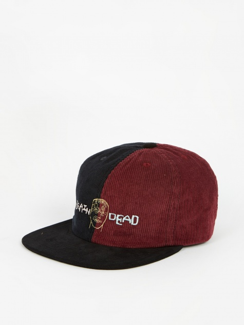 Colour Blocked Strap Back Cap - Navy/Maroon/Black