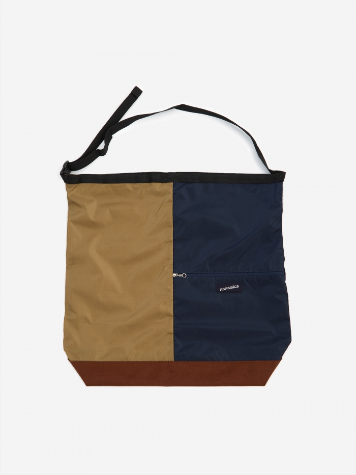 Nanamica Nanamican Utility Shoulder Bag L - Beige/Navy (Image 1)