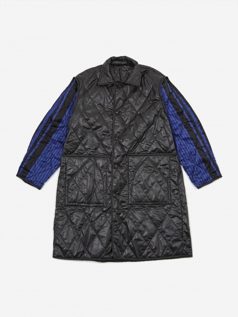 Quilt Stitch Over Coat - Black /Navy