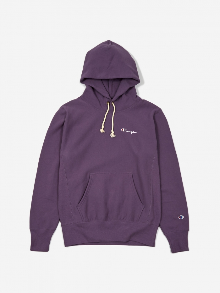 Champion Reverse Weave Small Script Hooded Sweatshirt - Purple (Image 1)