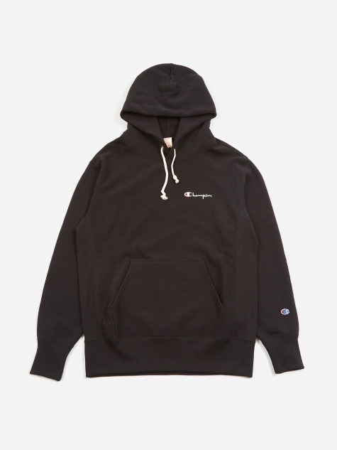 Reverse Weave Small Script Hooded Sweatshirt - Black