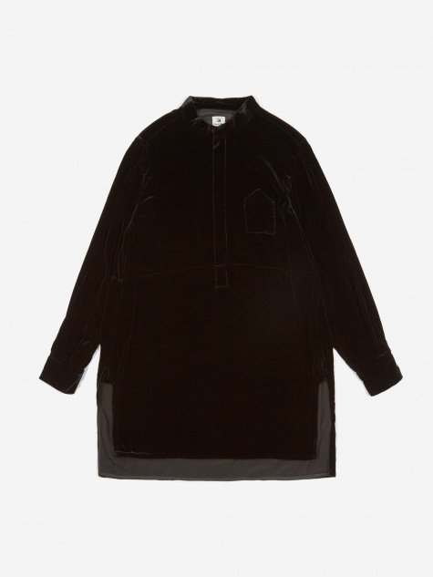 Velvet Long Shirt - Black