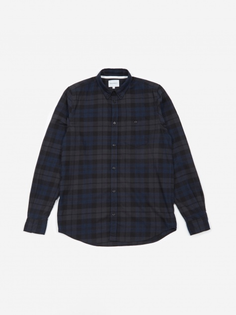 Anton Flannel Check Shirt - Dark Navy