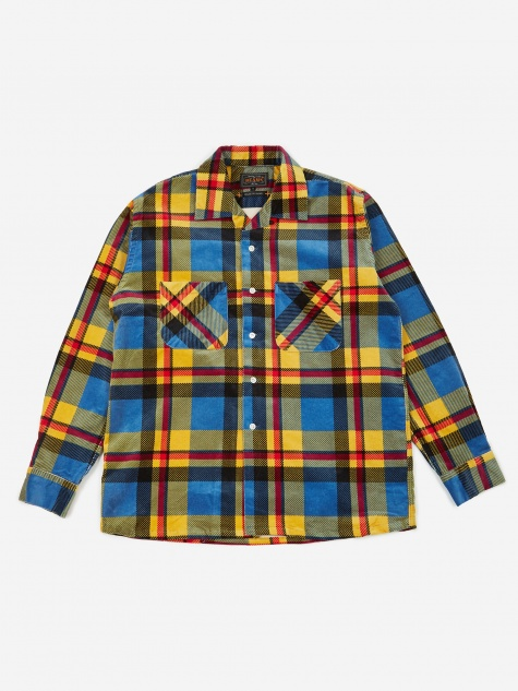 Open Collar Cord Check Shirt - Blue