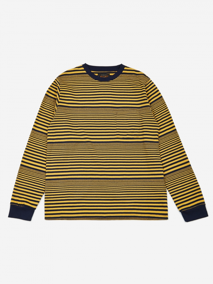 Beams Plus Multi Border Pocket Longsleeve T-Shirt - Yellow (Image 1)
