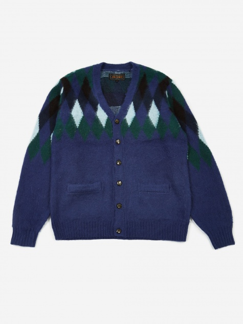 Diamond Pattern Cardigan - Navy