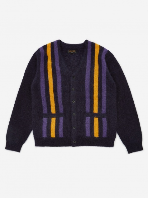 Striped Mohair Cardigan - Navy