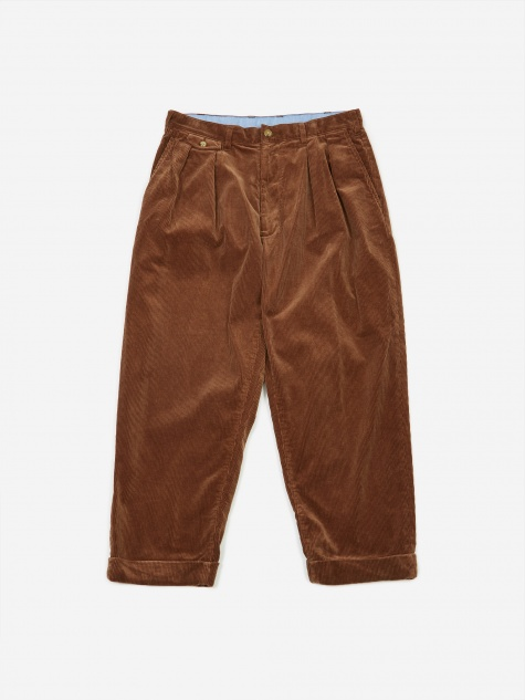 2 Pleats Corduroy Trouser - Golden Brown