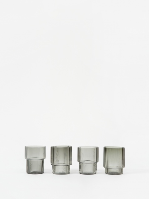 Ripple Small Glasses Set of 4 - Smoked