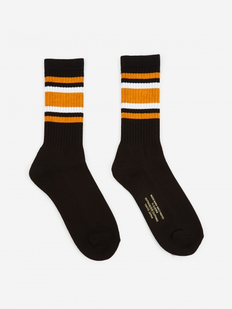 Skater Socks (Type-2) - Black/Orange