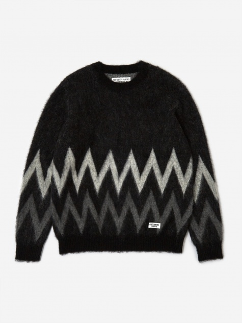 Zig Zag Mohair Crew Neck Jumper - Black