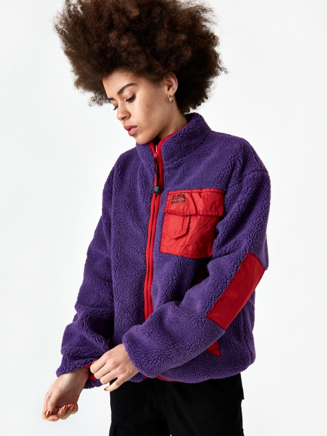 x X-Girl Reversible Fleece Jacket - Purple/Red