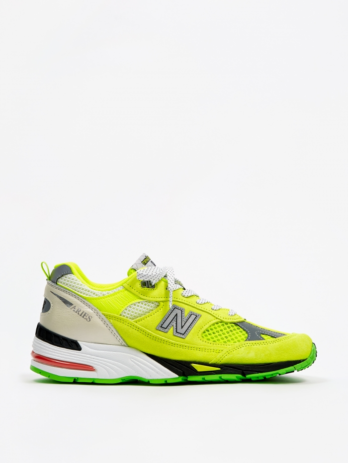 Aries x New Balance 991 - Neon Yellow/Silver (Image 1)