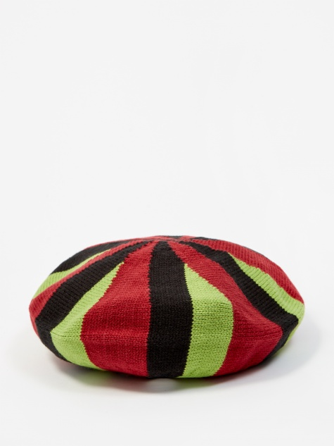 Belmont Stripe Beret - Red