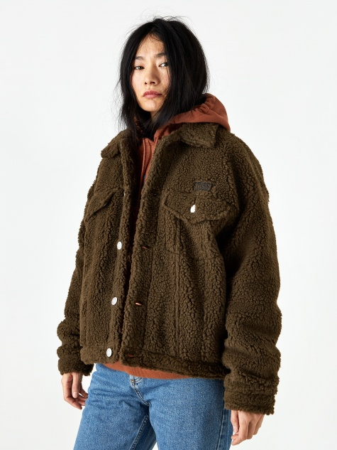 Taryn Sherpa Trucker Jacket - Brown