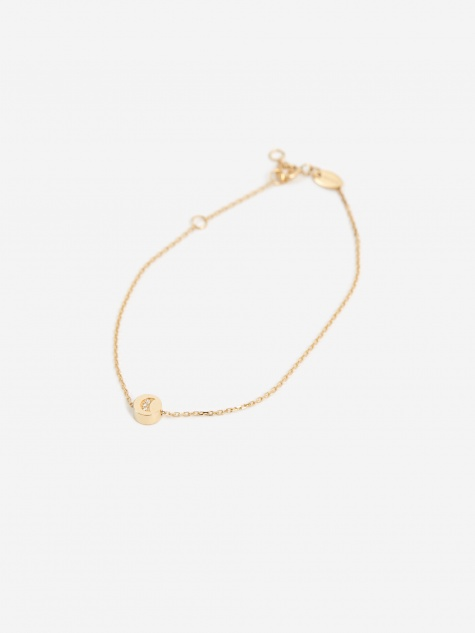 Modern Words Crescent Bracelet - 18ct Yellow Gold