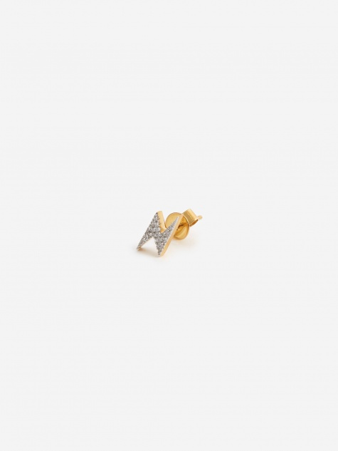 Modern Words Fine Lightning Stud - 18ct Yellow Gold