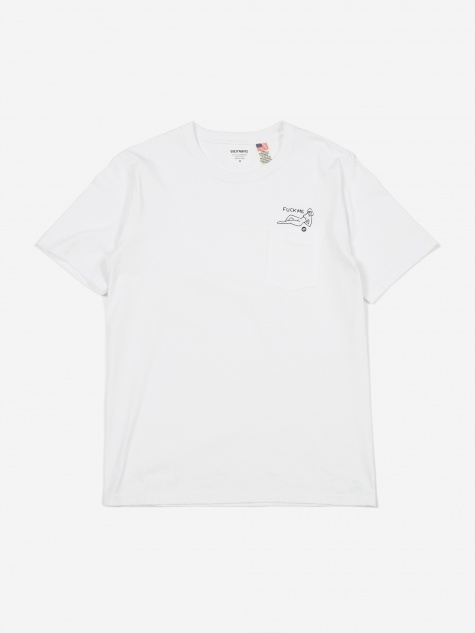 Oversized Crew Neck Pocket T-Shirt (Type 3) - White