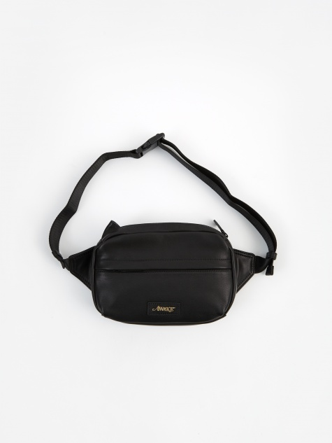 Leather Side Bag - Black