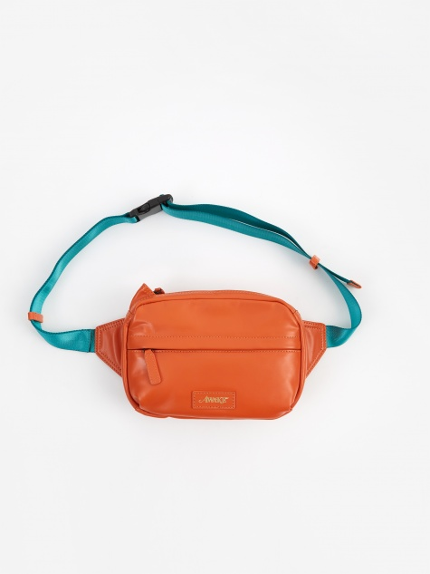 Leather Side Bag - Orange