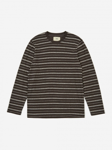 Longsleeve Textured Stripe T-Shirt - Charcoal Ecru