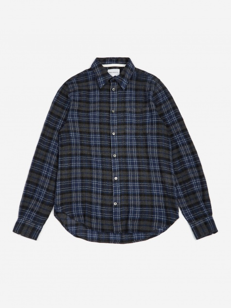 Osvald Japanese Gauze Check Shirt - Dark Navy