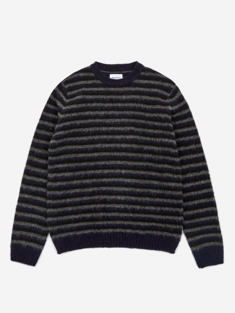 Sigfred Brushed Stripe Jumper - Dark Navy