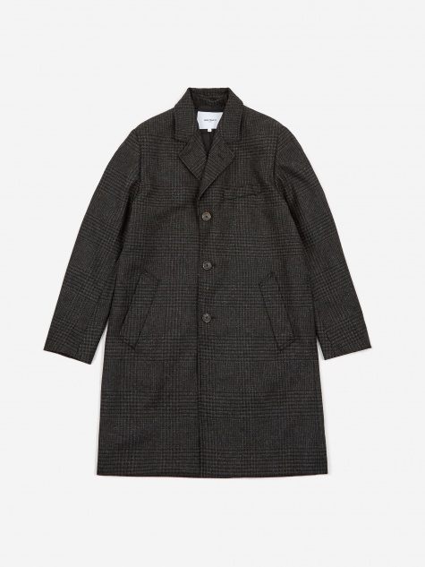 Norse Projects Arland Overdyed Wool Coat - Slate Grey