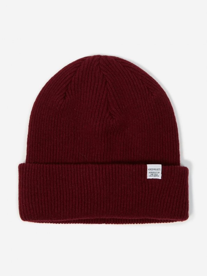 Norse Projects Norse Beanie - Mulberry Red (Image 1)