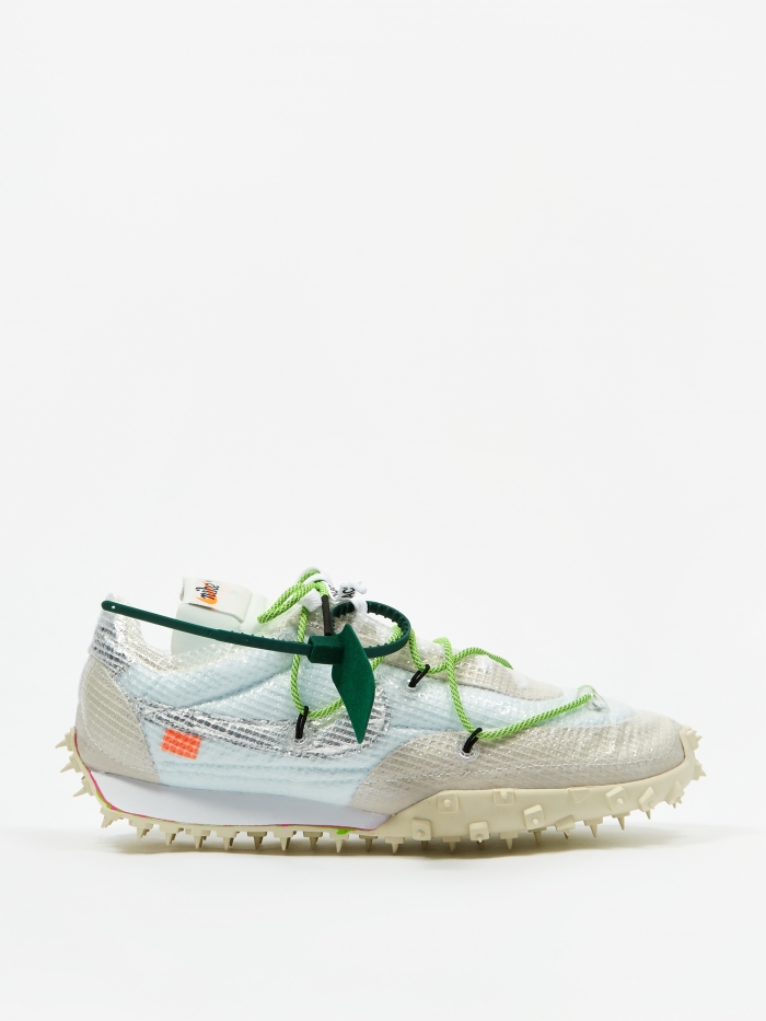 Nike Waffle Racer Off White - White/Black/Electric Green (Image 1)