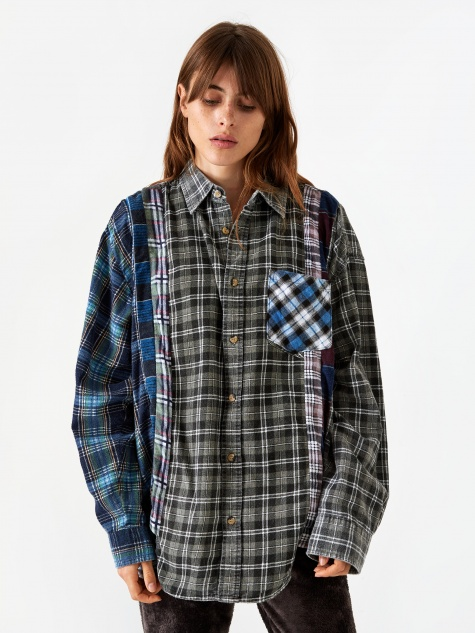 Wide 7 Cuts Flannel Shirt One Size 3 - Assorted