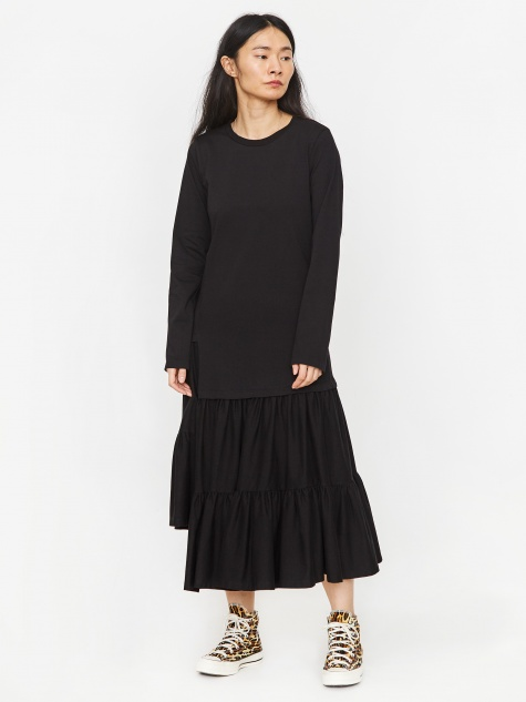 Long Frill Dress - Black