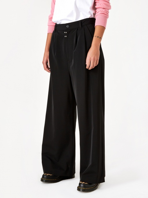 Wide Leg Pleat Trouser - Black