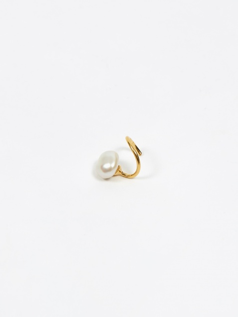 Baroque Twirl Right Earring - High Polished Gold