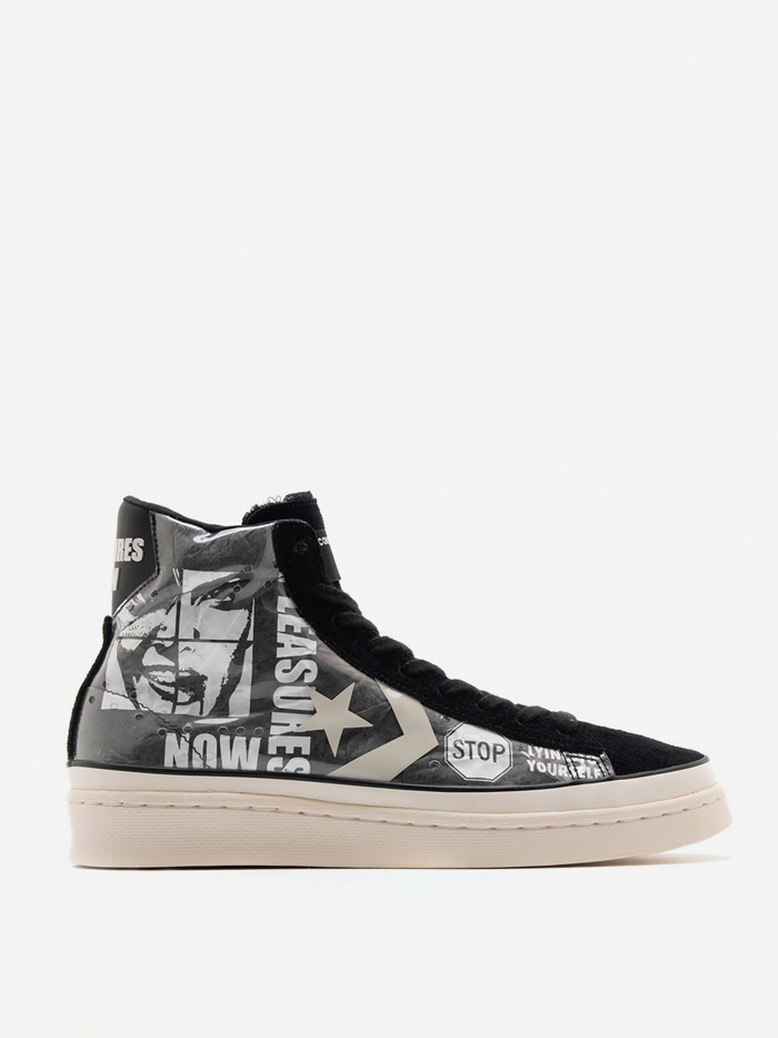 Converse x Pleasures Pro Leather Mid - Black/White (Image 1)
