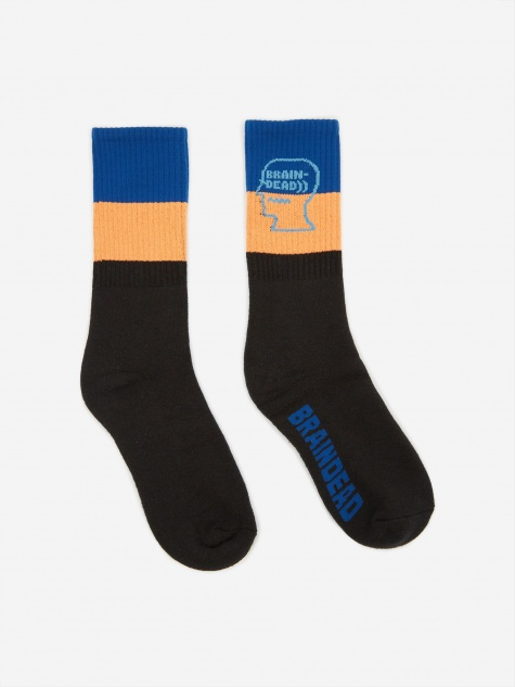 Striped Logo Sock - Blue/Orange/Black