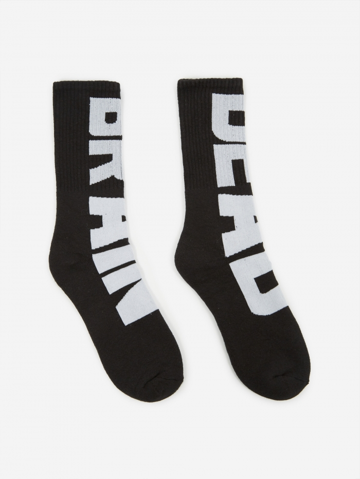 Brain Dead Vertical Type Sock - Black/White (Image 1)
