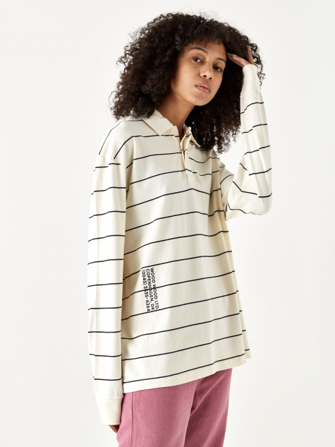 Beck Longsleeve Polo Top - Off White Stripe