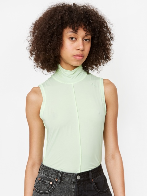 Light Stretch Jersey Sleeveless Top - Patina Green