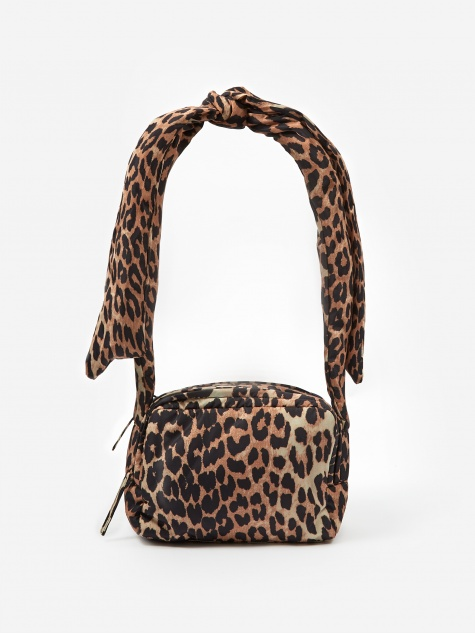 Padded Tech Fabric Crossbody Bag - Leopard