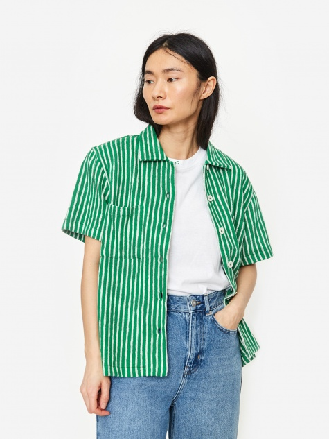 Vegas Shortsleeve Shirt - Green/Ecru Stripe