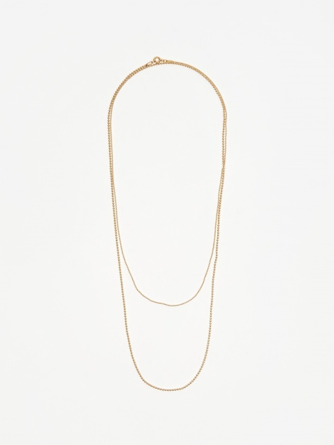 Soft Ball Long Chain Necklace - Yellow Gold Pla