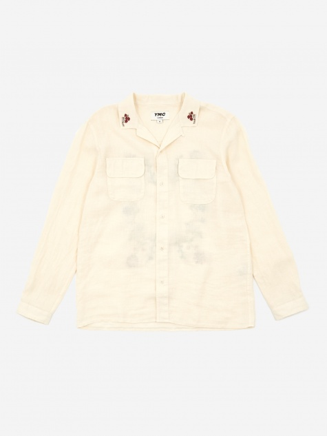 Embroidered Feathers Shirt - Ecru