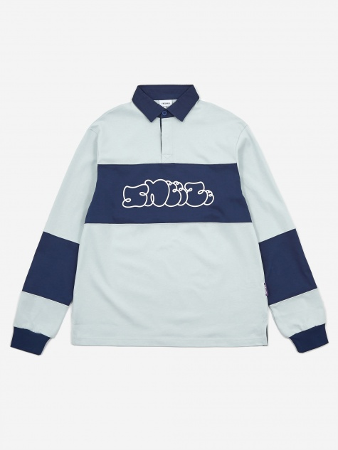 Tres Bien x Sneeze Offset Rugby Shirt - Navy/Light Grey