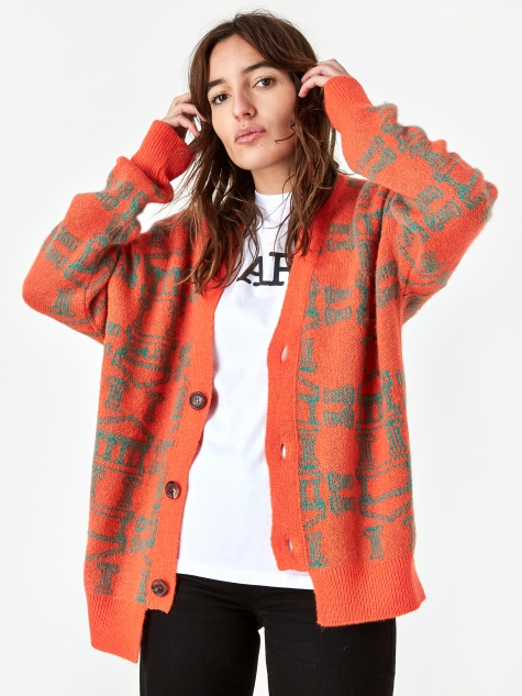 Column Cardigan - Orange/Olive