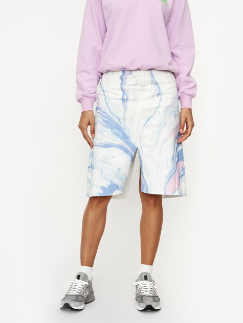 Marble Print Denim Skirt - Marble