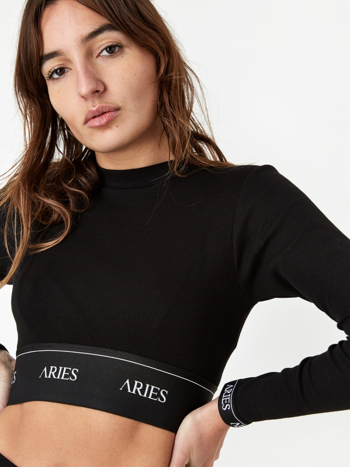 Aries Rib Crop Top - Black (Image 1)