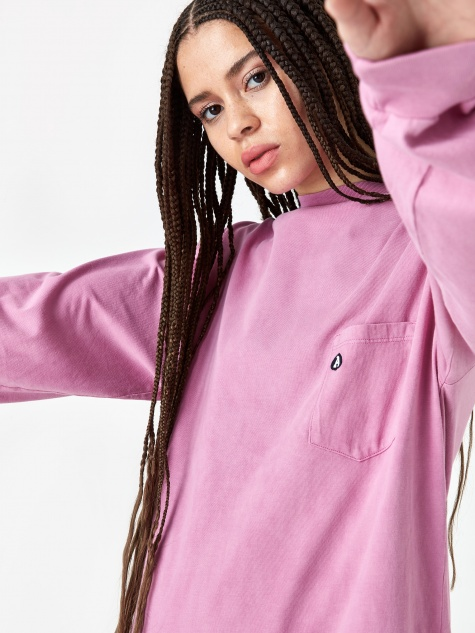 Acid Wash Pocket Longsleeve T-Shirt - Magenta