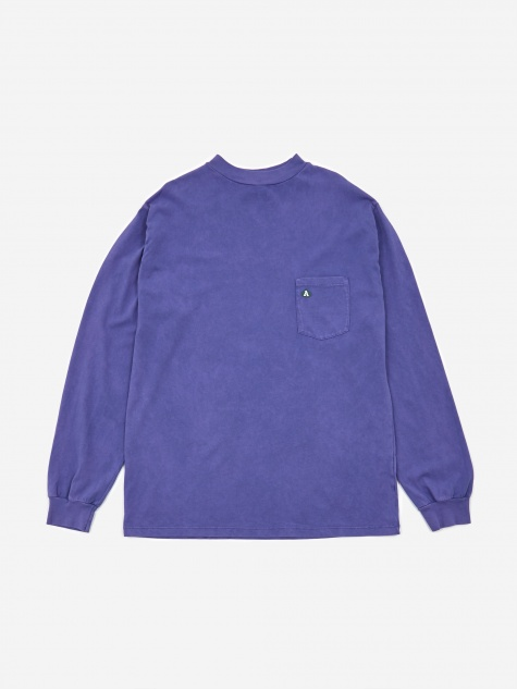 Acid Wash Pocket Longsleeve T-Shirt - Violet