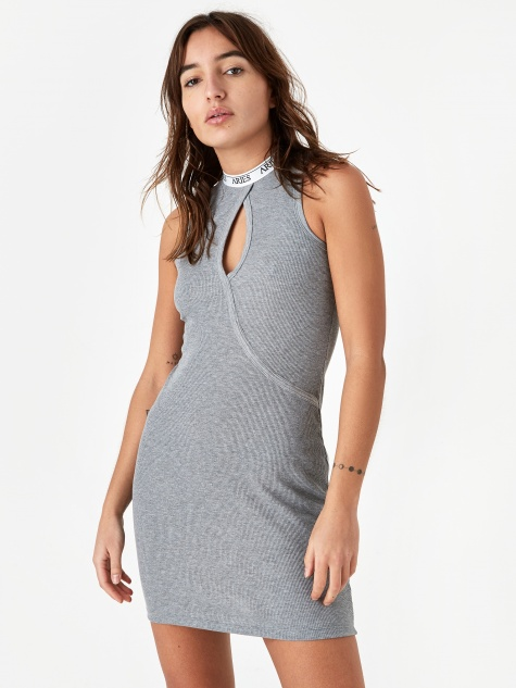 Keyhole Ribbed Dress - Grey